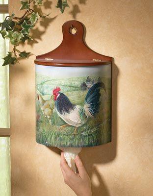 Rooster Kitchen Plastic Bag Holder