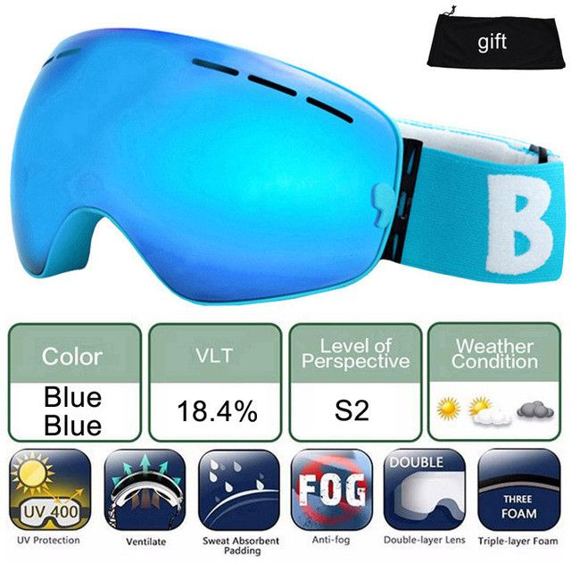 LOCLE Ski Glasses Double Lens UV 400 Anti-fog Ski Goggles Skiing Snowboard Motocross Goggles Big Ski Masks or Eyewear