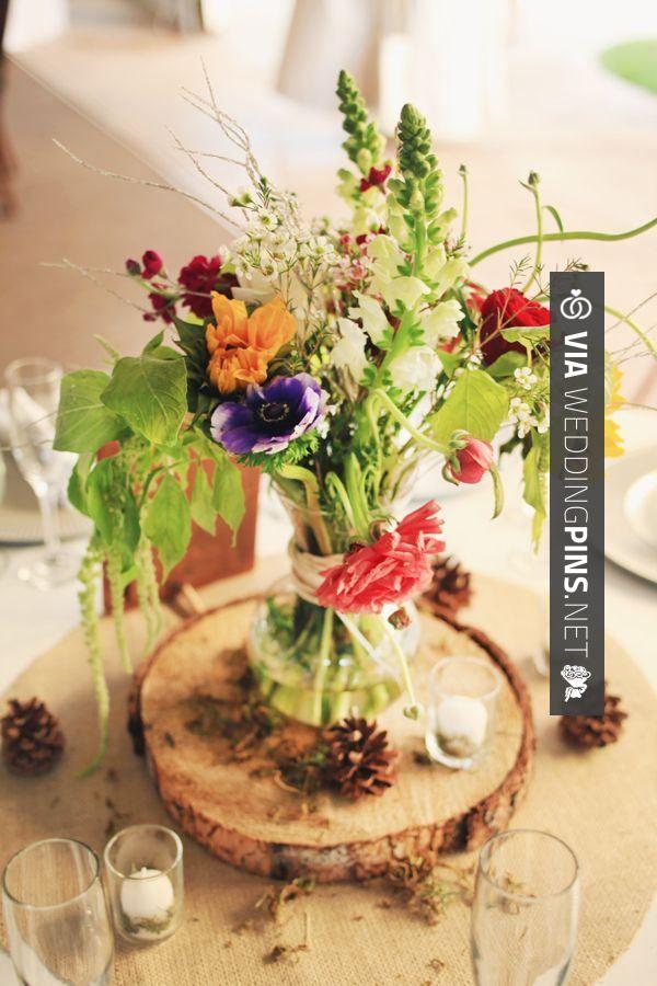 Love this madera y flores precioso centro de mesa para - Mesas de centro rusticas ...