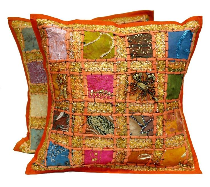 2 pieces Indian Saree patch work cushion cover pillow set Vintage cushion cover #Handmade