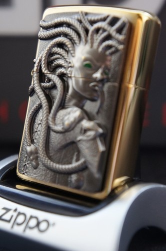 ZIPPO LIGHTER 24Ct GOLD PLATED SPECIAL EDITION 3D GREEN EYED GOLDEN MEDUSA RARE & UNUSUAL ZIPPO LIGHTERS, CASES, AND ACCESSORIES FROM easyonthewedge2011