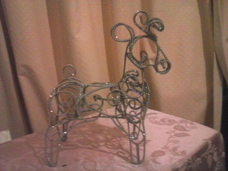 Silver Glitter, Reindeer Christmas Statue