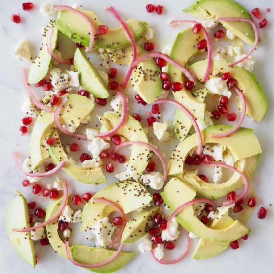 Feta and Avocado Salad with Red Onion, Pomegranate and Nigella Seeds | Simply Nigella | Nigella Lawson