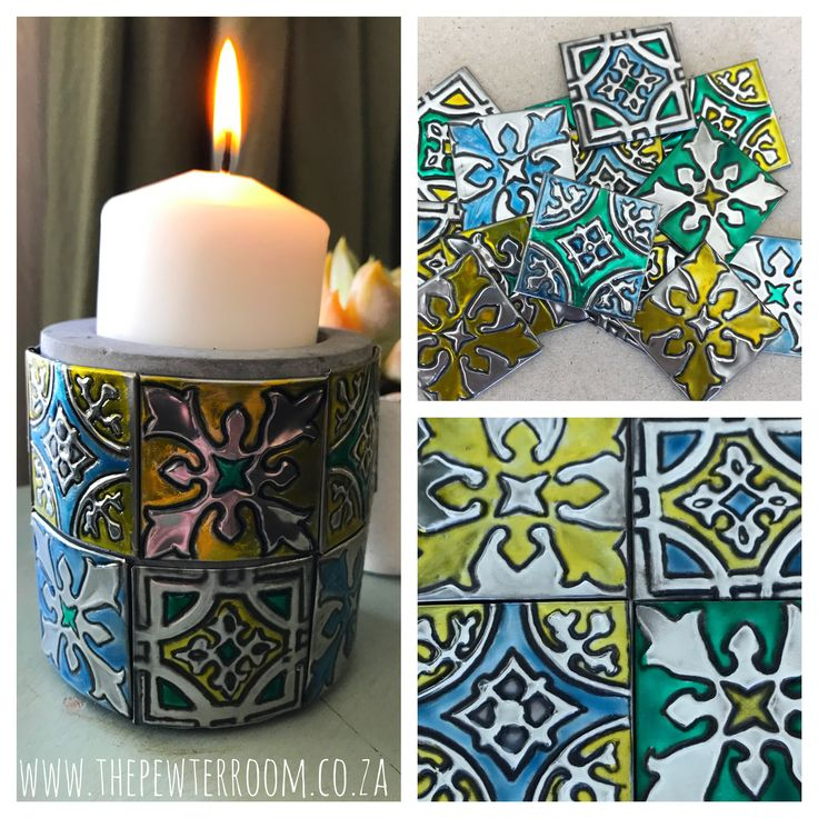 Pewter embossed 'tiled' candle holder inspired by Portuguese glazed ceramic tiles made by Lee @ The Pewter Room