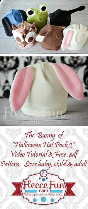 DIY Bunny Hat tutorial.  The perfect  little hat for your little bunny.  You can use this for a quick costume on Halloween night or for a fun hat your child can wear anytime.  Get the free pattern here!
