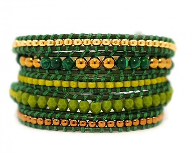 bratara-MARVIN-margele-verzi-piele-verde