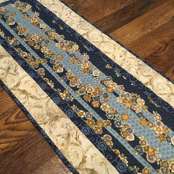Quilted Asian Table Runner, Blue Table Runner, Elegant Table Runner,  Quilted Table Runner, Table Runner Quilt, Blue Runner, Table Quilt