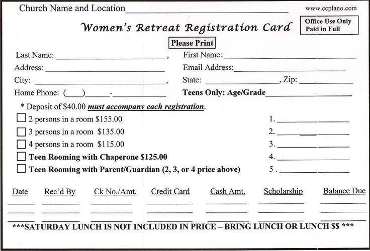 retreat registration form sample  womens retreat  pinterest