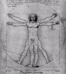 O desenho do Homem Vitruviano reafirma o grande interesse de Leonardo da Vinci pela arte e ciência. No conceito da Divina Proporção, tão procuradas nas obras do Renascimento, dá-se a busca e definição das partes corporais do ser humano. Marcus Vitruvius descreve no 3º livro de sua série de dez livros, intitulados De Architectura, as proporções do corpo humano masculino.