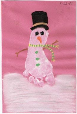 Footprint Snowman To make this adorable Footprint Snowman, place a white footprint on a piece of colored paper. When it dries, paint or draw on a hat, scarf, carrot nose, coal eyes, buttons, and arms. I also added snow underneath the snowman. Some ideas for the snow are: painting it with a paintbrush, fingerpainting a bunch of white dots, or gluing on cottonballs.