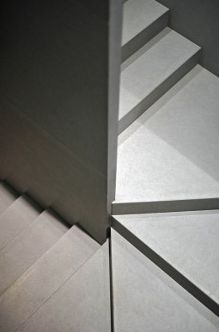 Detail, stair inside the Bulthaup showroom in Milan by architect John Pawson _
