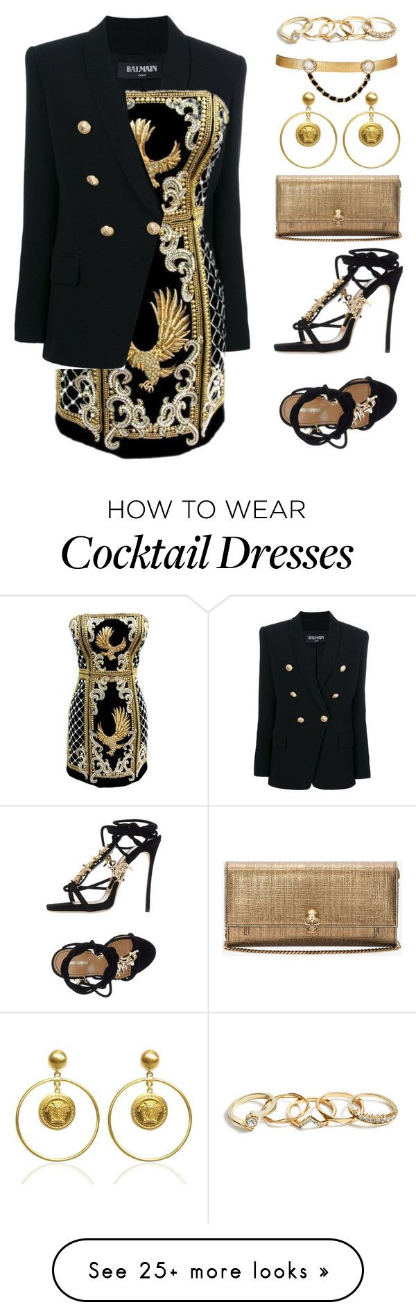 """#PolyPresents: Party Dresses"" by froyalbiatsii on Polyvore featuring Balmain, V…"