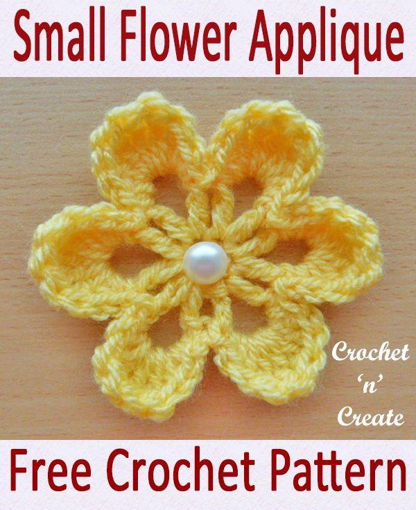 Padrão de crochet grátis Pequena flor Applique