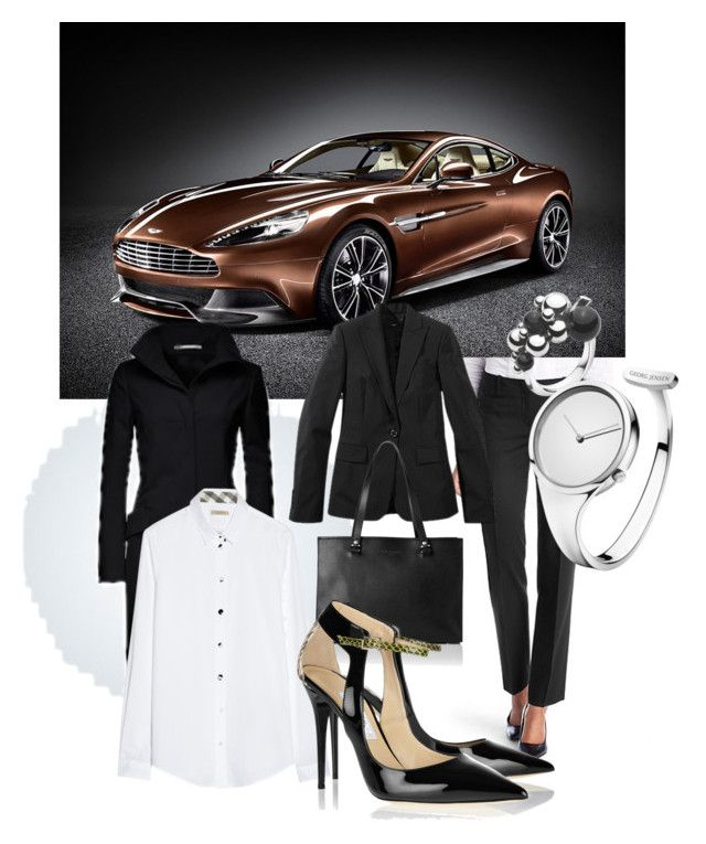 """""""Aston and Georg <3"""" by maria-f-engel on Polyvore featuring Aston Martin, Burberry, L.K.Bennett, Jimmy Choo and Georg Jensen"""