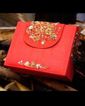 Rust color sequined briefcase clutch