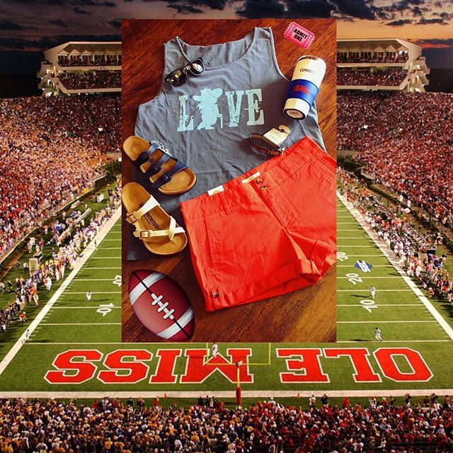 F🏉🏉TBALL SEASON IS HERE! We have your game day essentials here such as, Shades by Suncloud, Ole Miss Tank by Southern Pride Apparel, Red Sadie Shorts by Mountain Khakis, Chaco ZBands, Blue and Antique Lace Birkenstocks, White Corkcicle Tumblers, and Silicone Team Grips for hot/cold use. #tailgating #Football #GameDays #StadiumStyle #FanFashion #ShopAustins #hottytoddy #OleMissFootball