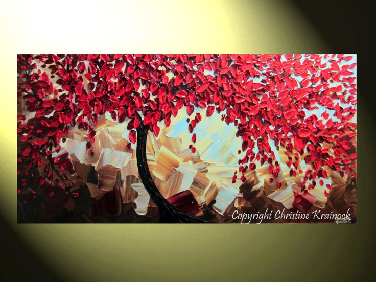 """Original Art Abstract Painting Red Tree of Life Landscape Modern Palette Knife Spring Wall Decor Red Brown Gold, 24x48"""" -Christine"""