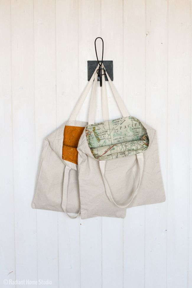 In this tote bag upgrade, I'll show you 2 ways to add a lining to a tote bag. Hide those raw edges and add some color to your plain canvas tote bag!