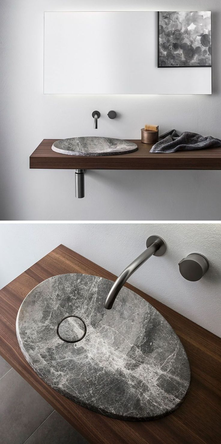modern bathroom fountain valley reviews%0A This modern bathroom sink made from natural stone sits on a floating wood  vanity and has