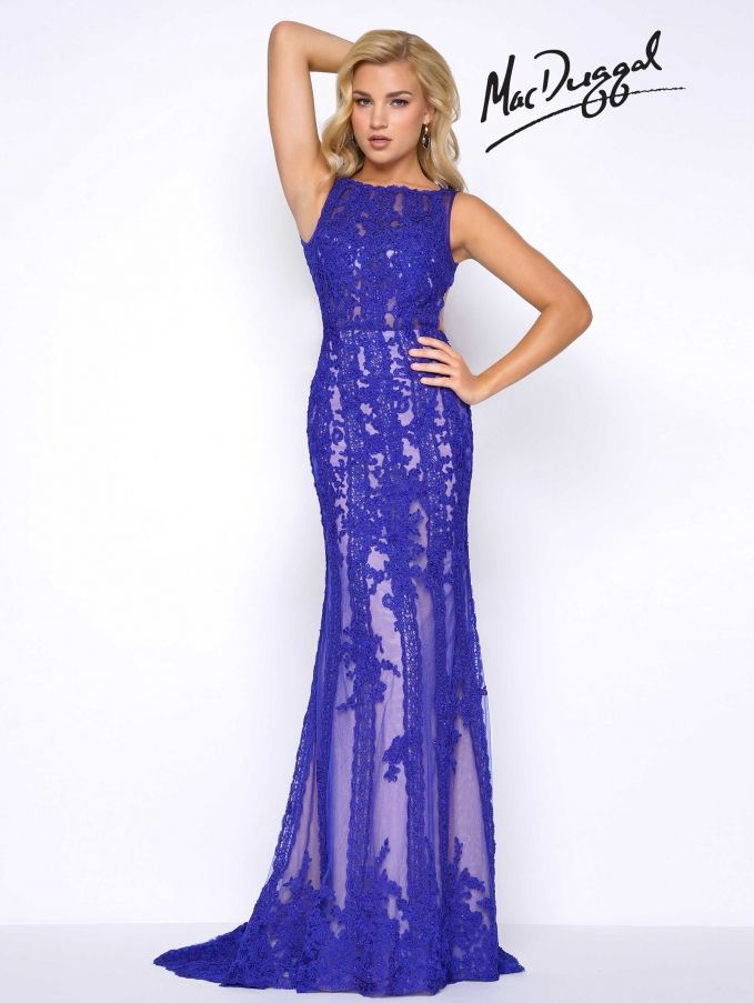 At the Pageant Planet, find the perfect prom or pageant gown like this one by MacDuggal. Check out our gown directory filled with the best dress designers and to search for your dress by silhouette, neckline, color, fabric, and length. Then you can locate the gown at the retailer nearest you. About this gown: Prom Dresses SHEATH Bateau Natural Lace long Blue,Red