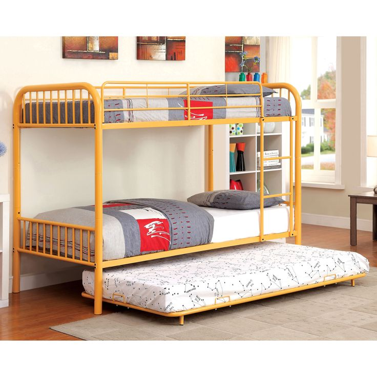 Furniture of America Linden II 2-Piece Over Bunk Bed with Trundle Set