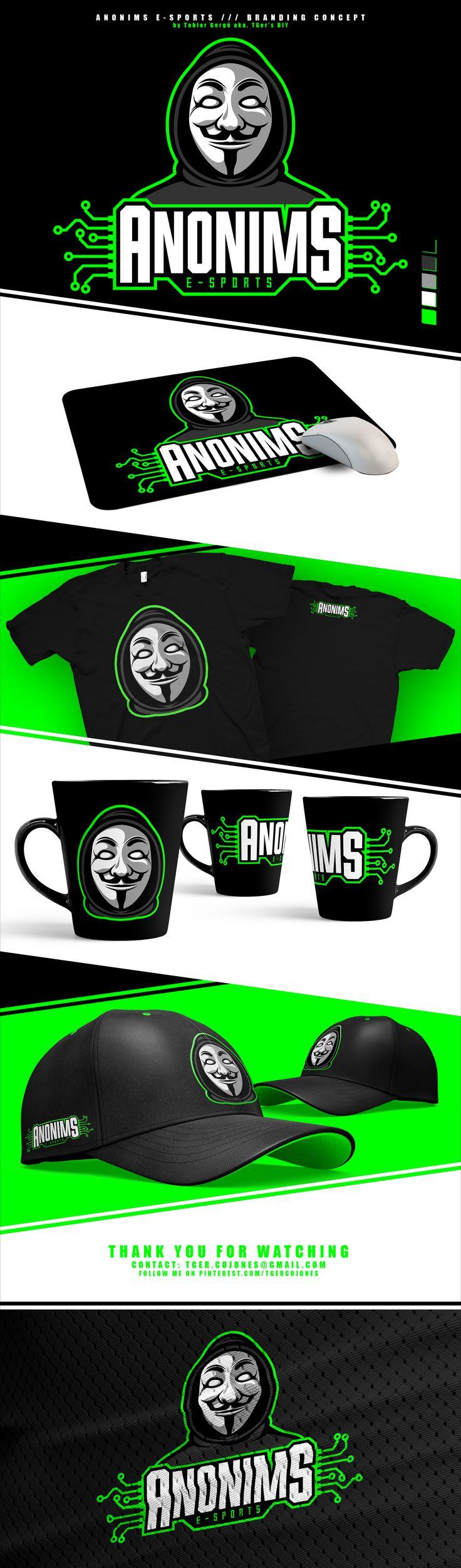 Mascot logo and branding concept for the Anonims E-sports team from Hungary. Made by Tobler Gergő aka TGer's DIY Follow me at Pinterest.com/tgercojones #tgersdiy
