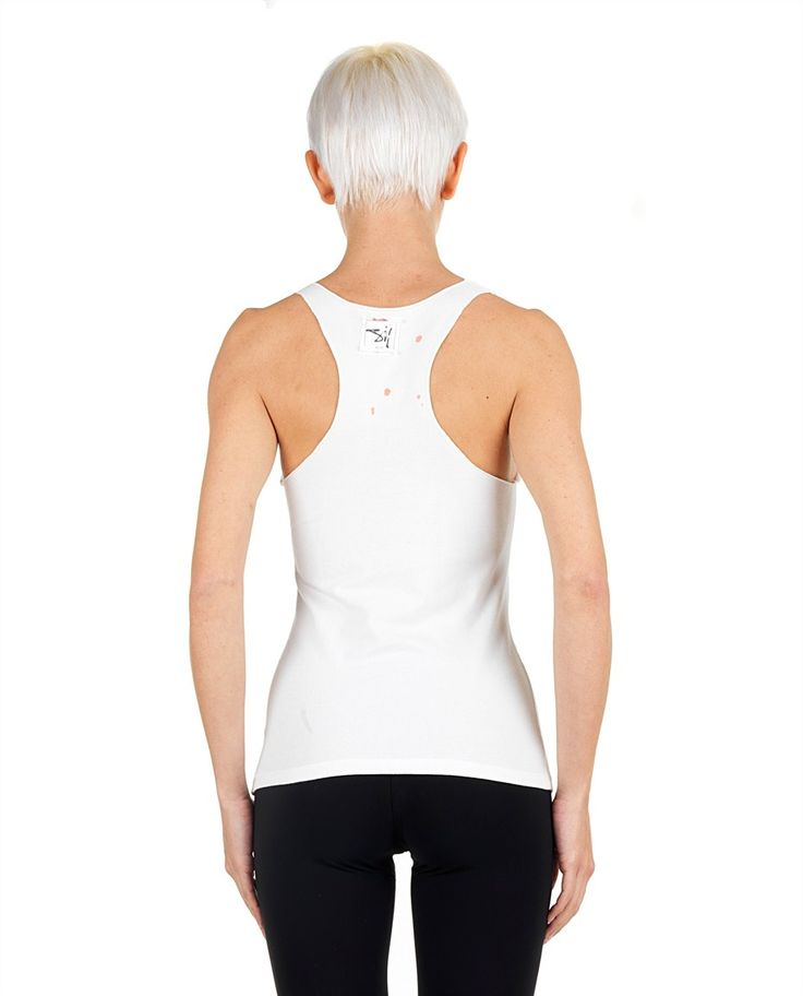 SIL White sexy athletic top Pirates/Dexter print wide neckline back logo 100% CO