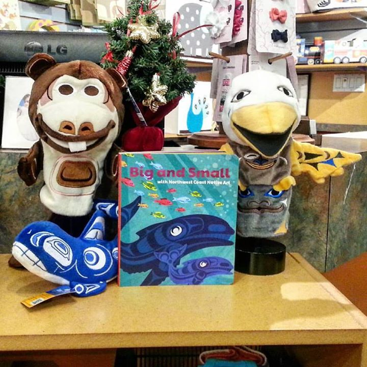 Just received some beautiful product from Native Northwest - all items feature amazing artwork by Northwest Coast Native artists, designed right in Vancouver : ) Each piece features the artists name and tribal affiliation. I love the hand puppets - Buzzy the beaver and Sky the eagle bear totem : )