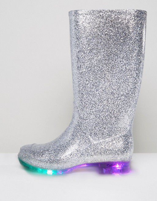 ASOS is now selling a pair of glittery wellies.    But these are not any glittery wellies, as great as glittery wellies are in themselves. These wellies have a sole that lights up when you walk.
