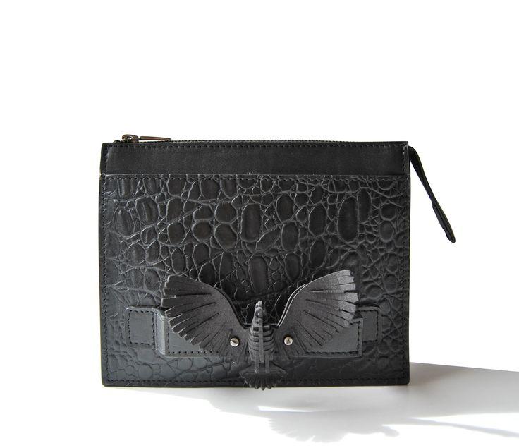 Junior, Black croco, bird, 3D printing, Exocet Paris FW1415, hand strap hand-bag