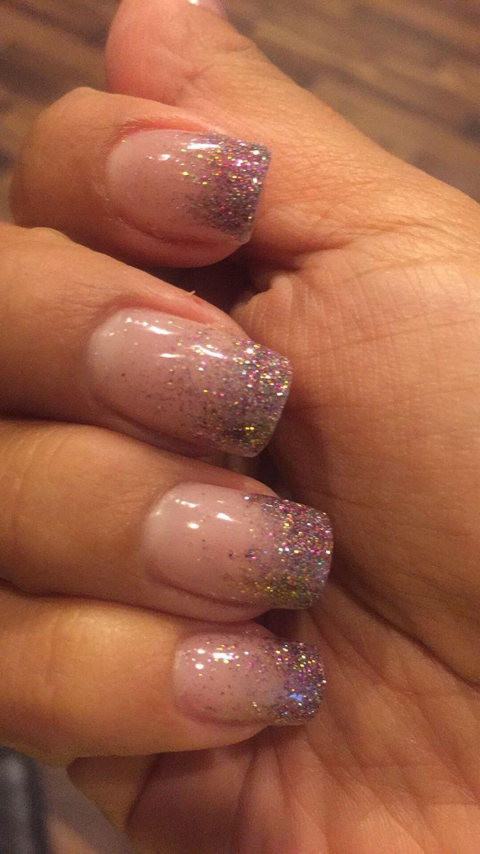 SNS glitter tips = LOVE! Nail Design, Nail Art, Nail Salon, Irvine, Newport Beach