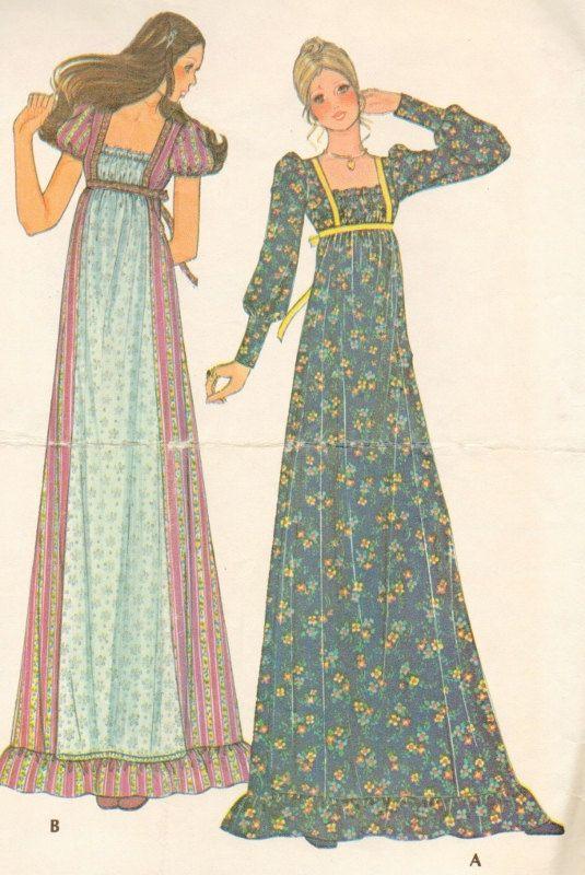 Vintage Romantic Long Dress Pattern