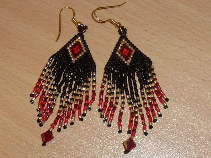 boucles d'oreilles miyuki et swarovski or, rouge, noir