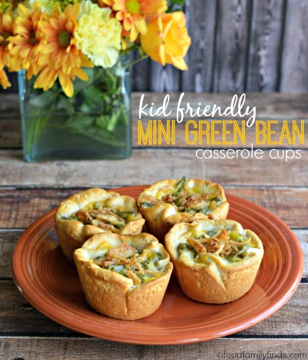 Kid-Friendly Mini Green Bean Casserole Cups for Thanksgiving.