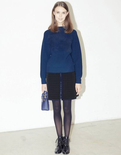 LE CIEL BLEU Ferret Knit Pullover, Quilted Mini Skirt and Sophie Hulme Box Tote