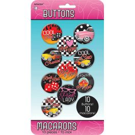 50's Rock and Roll Metal Buttons 10ct. |Wally's Party Factory #50s #Rock #And #Roll #Metal #Buttons