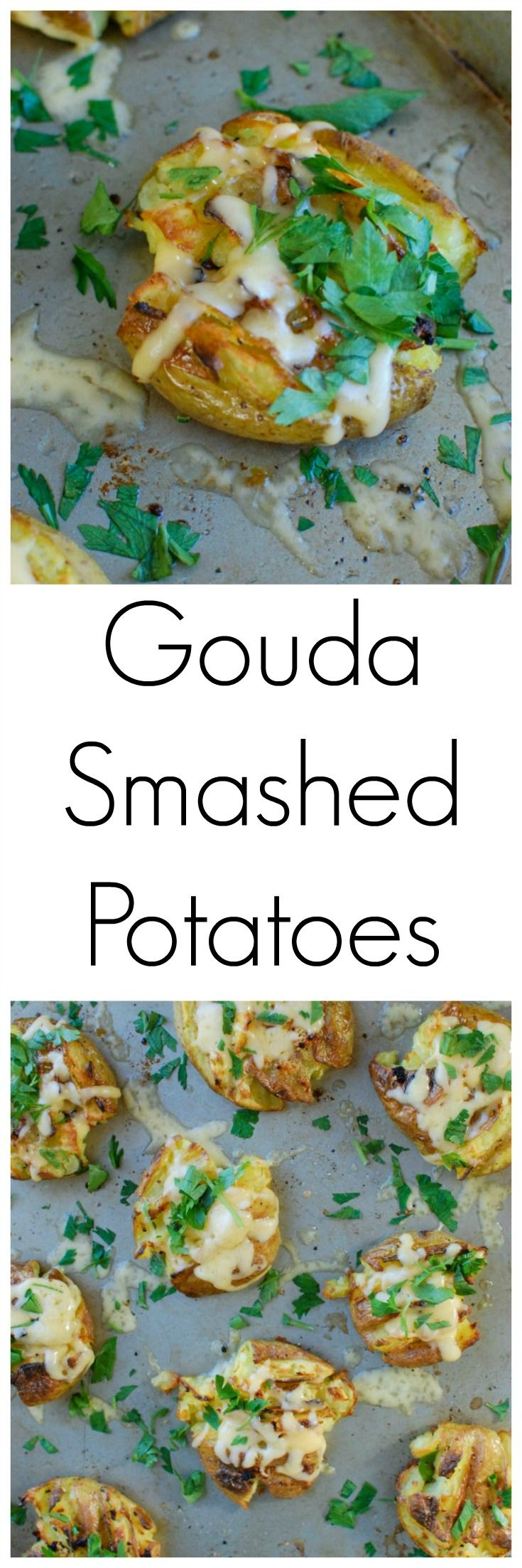 Golden potatoes are drizzled with olive oil and garlic and baked until crispy and then topped with gouda and warmed until the cheese is warm and melted. Gouda Smashed Potatoes are the perfect holiday side dish that will impress your guests. //  A Cedar Spoon