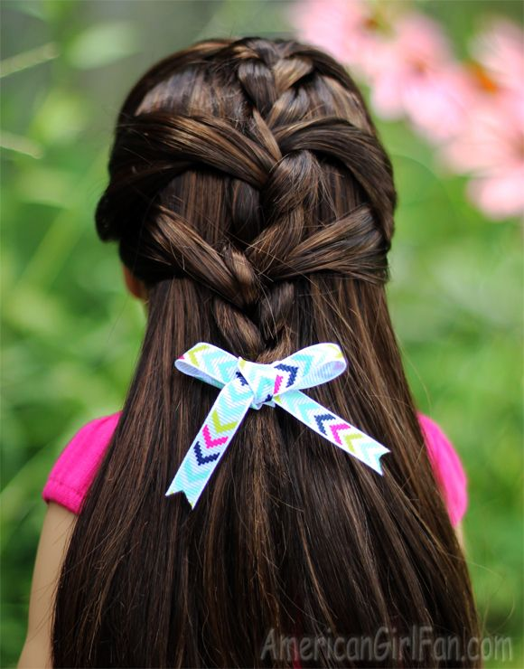 in style hair half up braid hairstyle for american dolls 4496