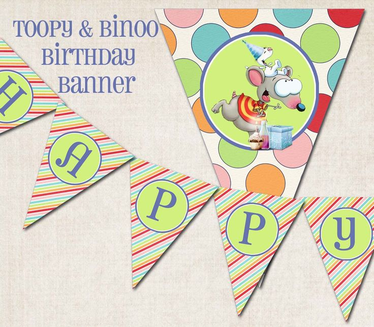 "Toopy & Binoo Birthday Party Banner, ""Happy Birthday"", digital file, you-print. $10.00, via Etsy."