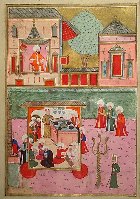 """Kaffeesieder in der Prozession der Zünfte Bei diesem Umzug der Handwerkerzünfte, den der Sultan von einem Aussichtspavillon aus beobachtet, ist auch das Gewerbe der Kaffeesieder mit einem """"fahrenden Kaffeehaus"""" vertreten. Kaffee war um 1600 ein beliebtes Alltagsgetränk bei den Osmanen. Osmanische Miniaturmalerei, aus dem """"Buch der Feste"""" Murads III."""