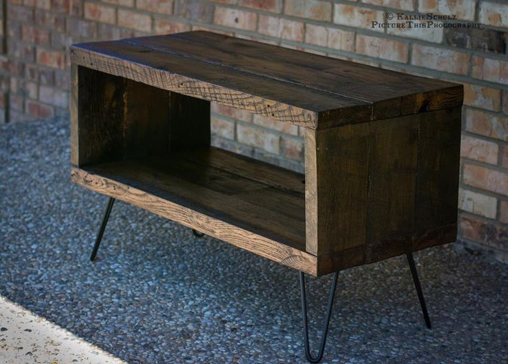 """Rustic TV Stand Made From Reclaimed Barn Wood - Solid Oak W/ 8"""" Hairpin legs. by BeRusticCo on Etsy https://www.etsy.com/listing/193214676/rustic-tv-stand-made-from-reclaimed-barn"""