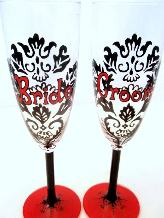 Bride and Groom -Black and Red Damask Hand Painted Champagne Toasting Flutes - Custom Wedding Gift