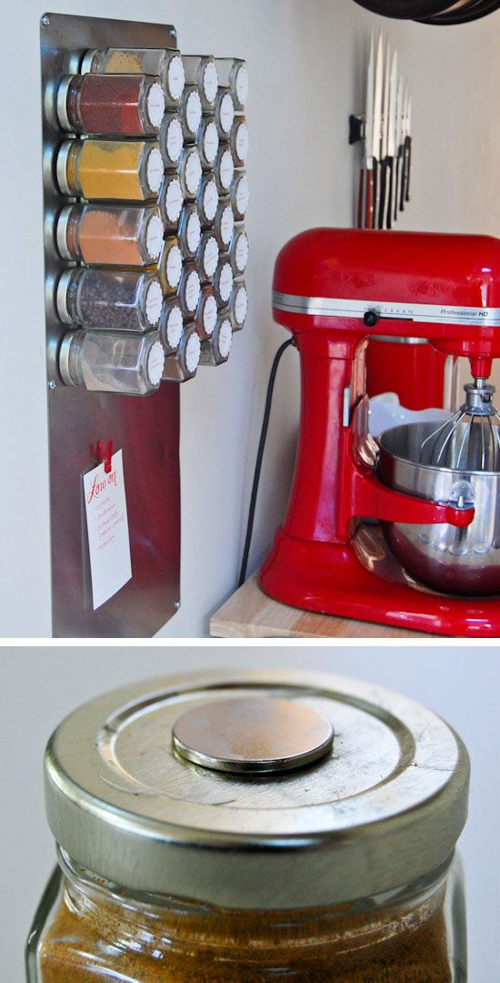 *Make a Magnetic Spice Rack | Click Pic for 25 DIY Small Apartment Decorating Ideas on a Budget | Organization Ideas for Small Spaces