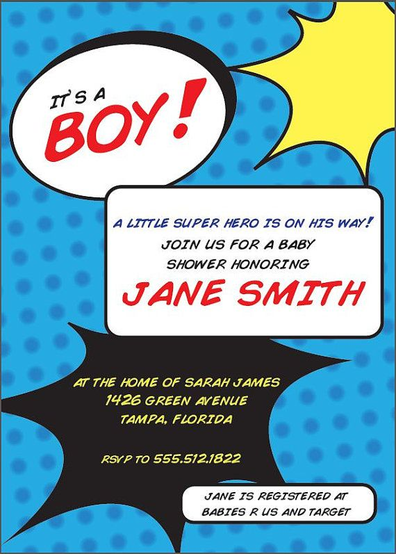 12 best Super hero theme baby shower images on Pinterest Boy - printable baby shower invite