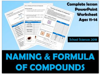 Lesson for naming compounds & working out the number and type of atoms in compounds Complete lesson with interactive PowerPoint that contains teacher led worked examples and then pupil exercises that are completed using their worksheet and periodic table (provided).