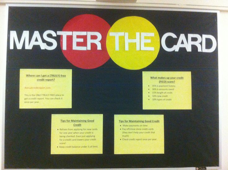 A board about getting and maintaining good credit. Bulletin boards, Resident Advisor, Resident Assistant, ResLife, Residence Life