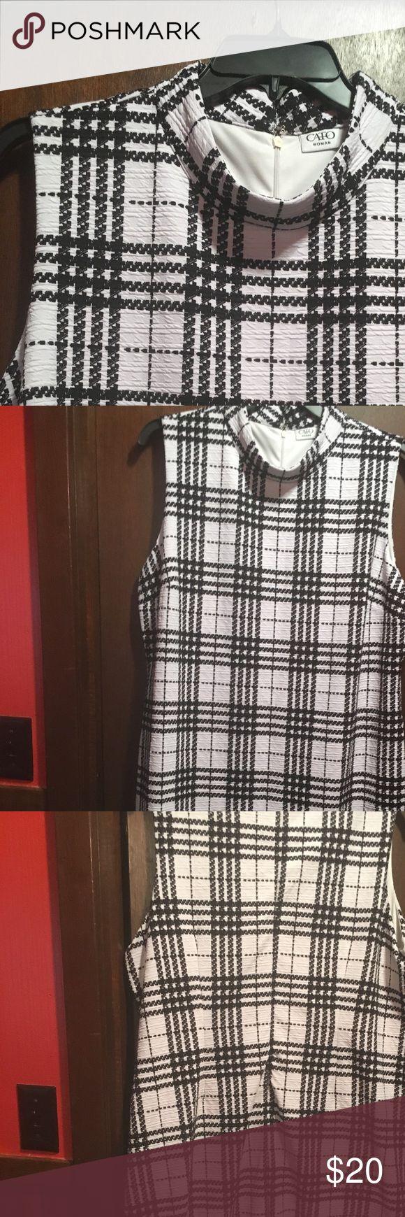 Size 22/24 striped dress Size 22/24 sleeveless dress. Knee length. Mock neck. Black/white stripe Dresses Midi