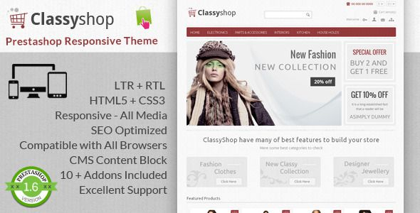 Review ClassyShop - Prestashop Responsive ThemeYes I can say you are on right site we just collected best shopping store that have