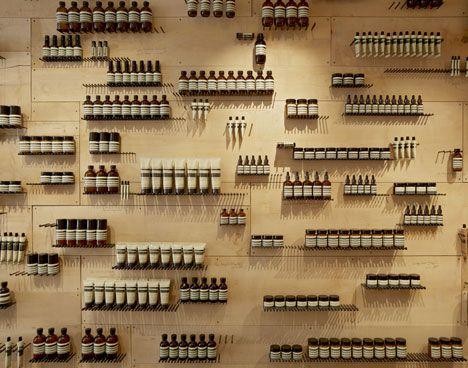 Iron nails as shelves - Aesop shop in Paris, rue Tiquetonne by Ciguë