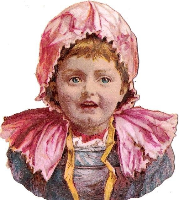 Oblaten Glanzbild scrap die cut chromo Kind child head Portrait